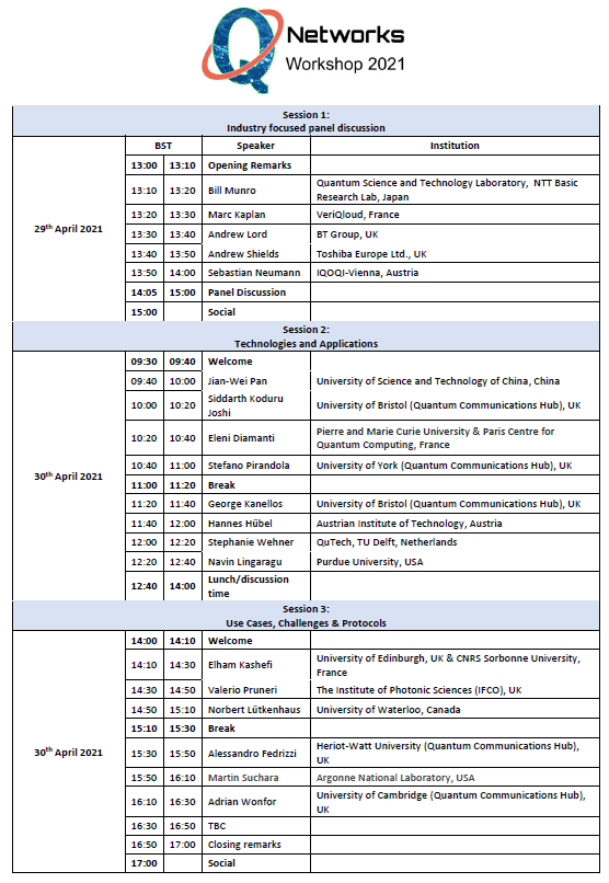 Networks event schedule