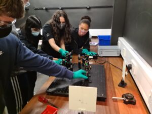Students carrying out an experiment at Quantum in the Summer